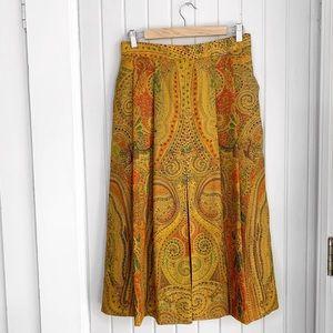 Vintage Geiger Pure Wool Paisley Pleated Skirt